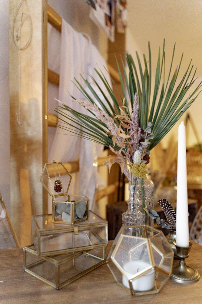Hochzeitsdeko Kerze und Schatulle