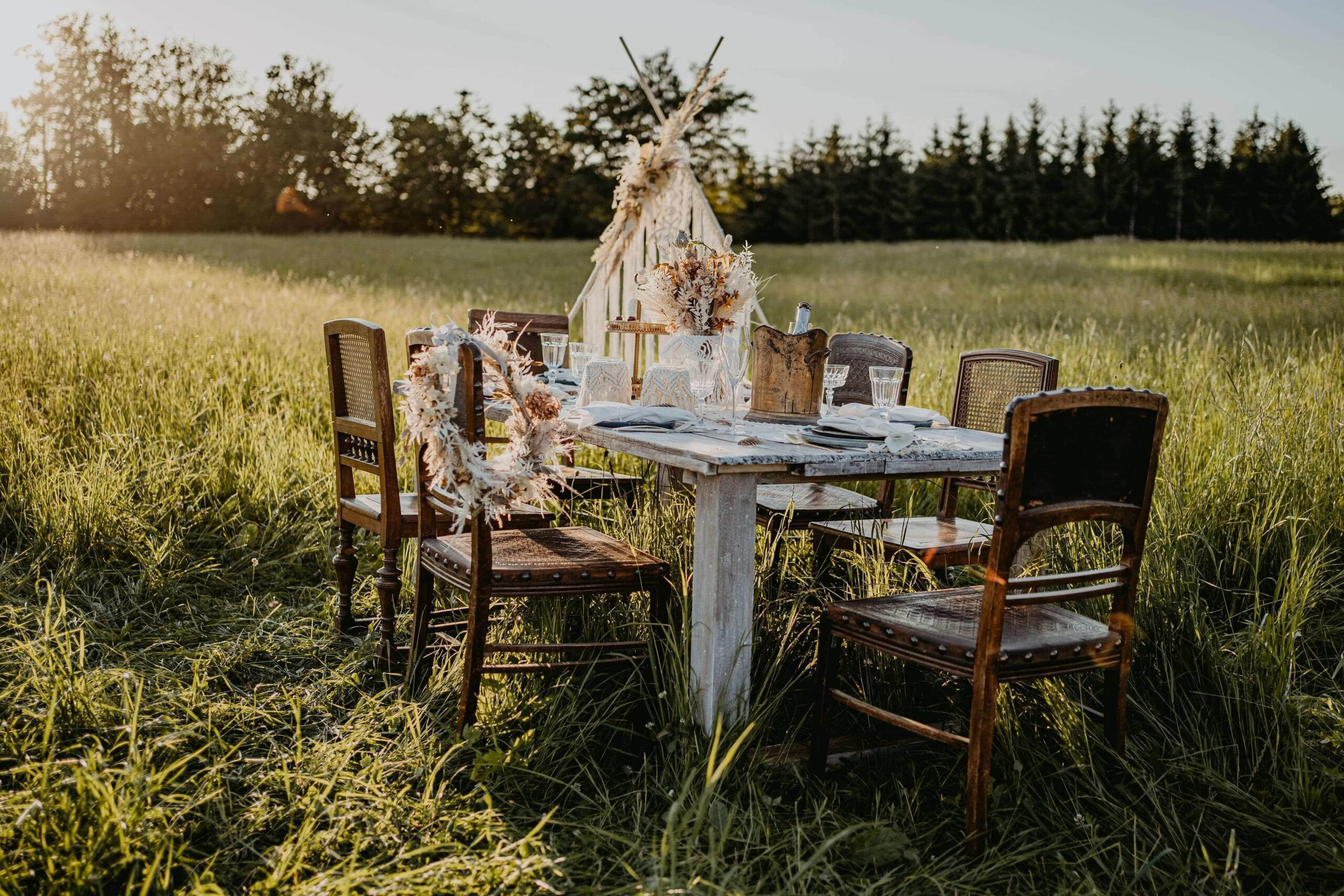 Boho Tischdeko für Hochzeit